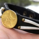 Men`s bracelet  Buffalo leather handmade 1966 Bahamas coin dentalium shell
