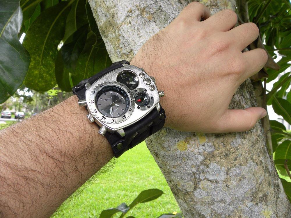Buffalo Leather duel time wristband cuff bracelet Men`s Watch Steam punk compass