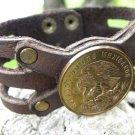 Real Centavos Aztec Eagle Coin Customize your wrist Bracelet Buffalo leather