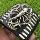 Customize signed Bracelet wristband Buffalo Bison Leather bones Vintage Scorpion