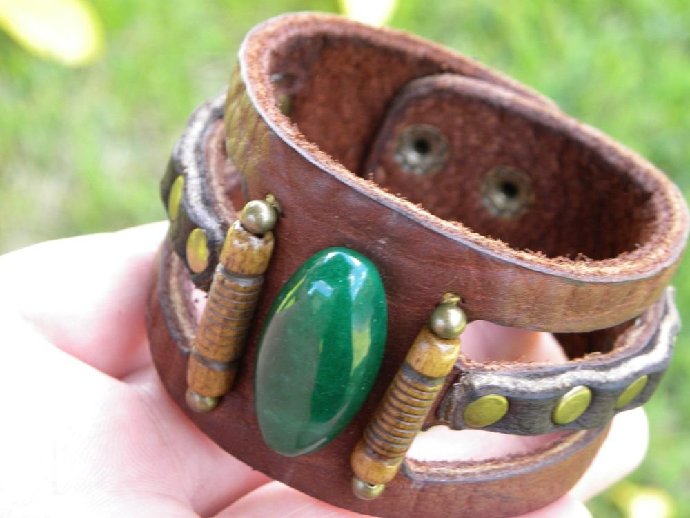Men bracelet Buffalo Leather Natural agate stone Customize Handmade Indian Style
