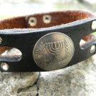 Handmade cuff Bracelet Jewish  Judaism  Buffalo Leather Israel  Menorah coin