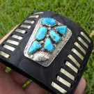 Leather Ketoh cuff Bracelet  Silver Turquoise signed Native Indian B&N&NASTAGIO