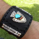 Leather cuff Bracelet Vintage Navajo sterling silver turquoise coral arrowhead