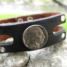 Handmade Cuff  Bracelet Genuine Buffalo Leather real Vintage Indian Head coin