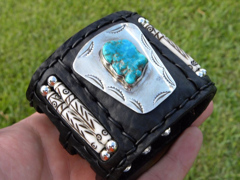 Ketoh Buffalo Leather Cuff Bracelet vintage SILVER TURQUOISE NATIVE AMERICAN