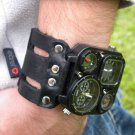 Compass Watch cuff bracelet gift for men  Buffalo Leather Valentine days gift