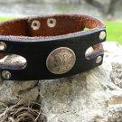 Handmade Cuff Bracelet Genuine Buffalo Leather silver  Mercury Dime coin  mg