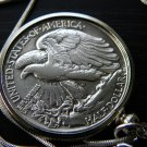 1942  Vintage  Walking Liberty Half dollar silver  necklace pendant silver VF EX