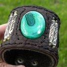 Malachite gemstone Bone  Buffalo leather  Bracelet Vintage Designer Signed