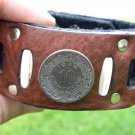 Handmade Cuff Men Bracelets Genuine Buffalo Leather Aztec Calendar coin mg
