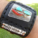 Ketoh  cuff Bracelet  Buffalo leather Navajo stainless silver coral turquoise