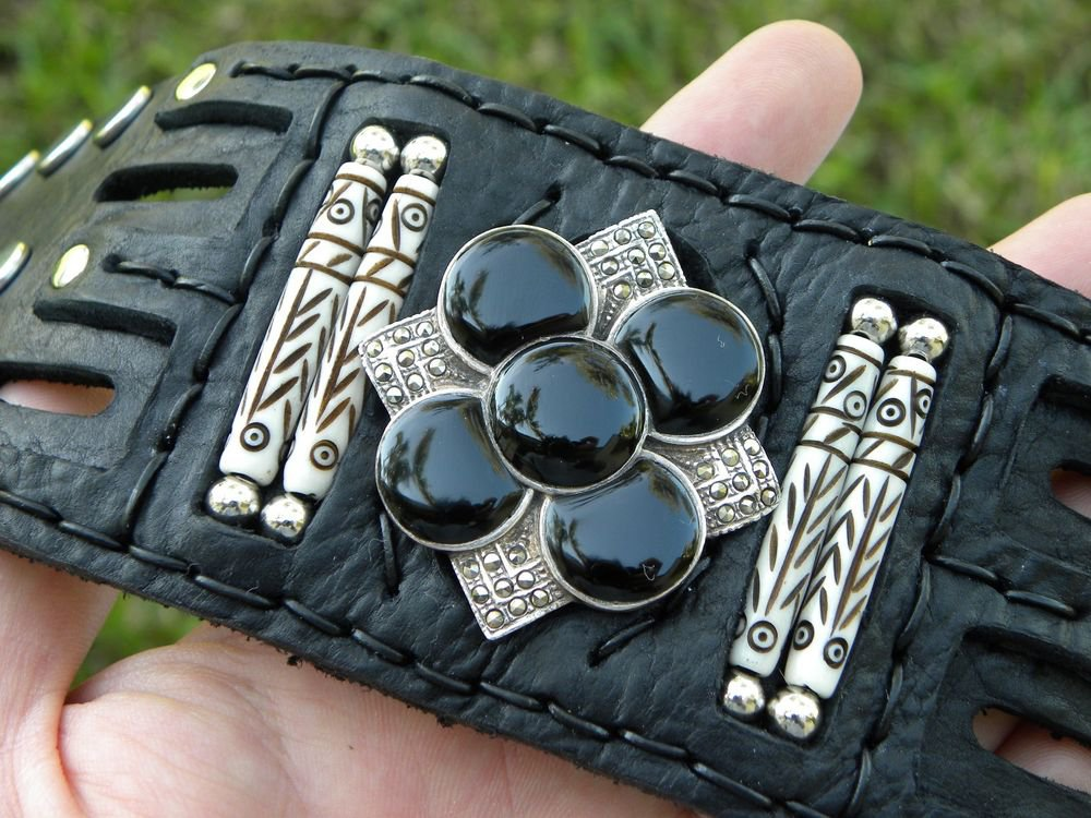 Buffalo leather cuff  bracelet Vintage Sterling Silver - Black Onyx & Marcasite