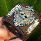 Bracelet American Buffalo Bison Leather 1960's Faux Turquoise Silver ton Eagle