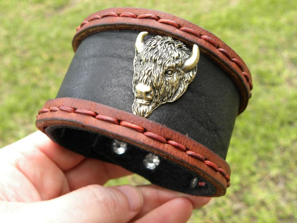 Men`s Bracelet  Genuine Buffalo Leather Buffalo Head Indian style  Ketoh