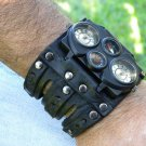 Rockstar Hunter Climber wristband  cuff bracelet Men`s Watch Steam punk dualtime