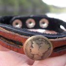 Authentic Cuff Bracelet  Vintage Silver Mercury coin Genuine  Buffalo Leather