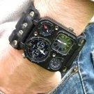 Men `s dual time watch handmade cuff bracelet genuine Buffalo Leather steampuck