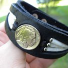 Vintage Buffalo Indian nickel coin leather handmade  bracelet Buffalo leather