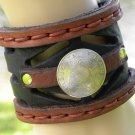 Handmade 2 inch Bracelet cuff Genuine Bison Leather Aztec king coin wristband