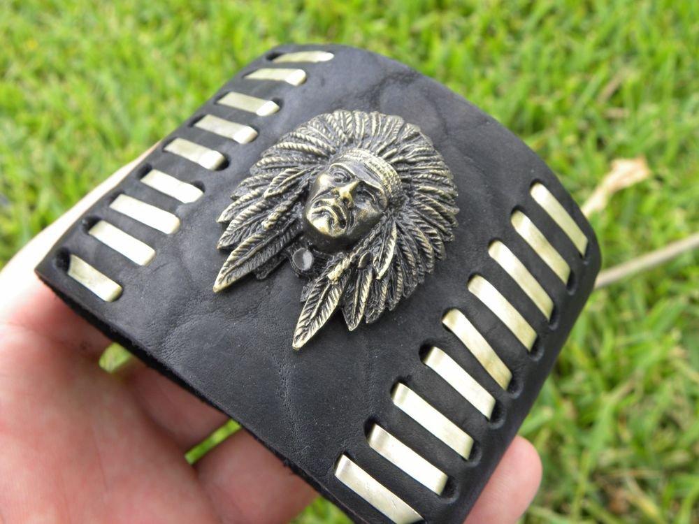 Rockstar signed Native Indian Chief Men Bracelet  Buffalo Leather customize