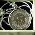 Real  Aztec Calendar coin handmade necklace silver solid chain 5 centavos