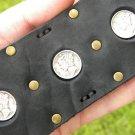 Handmade real Buffalo leather cuff  bracelet Vintage silver Mercury dime coins