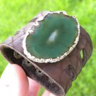 Bracelet Buffalo Leather  Agate Geode stone Handmade Adjustable Indian style