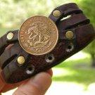 Vintage Centavos Aztec Eagle Coin Customize your wrist Bracelet Buffalo leather