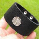 Customize Bracelet Buffalo leather wristband Silver Mercury dime coin adjustable