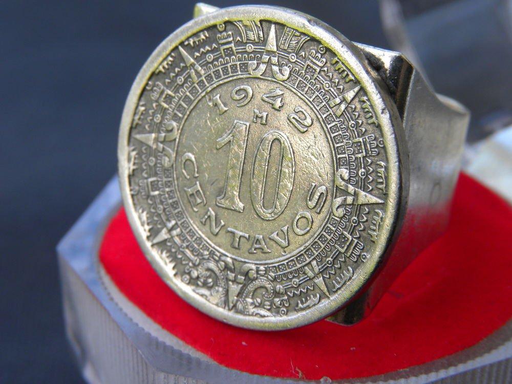 Aztec calendar coin Adjustable handmade ring stainless steel finish handmade