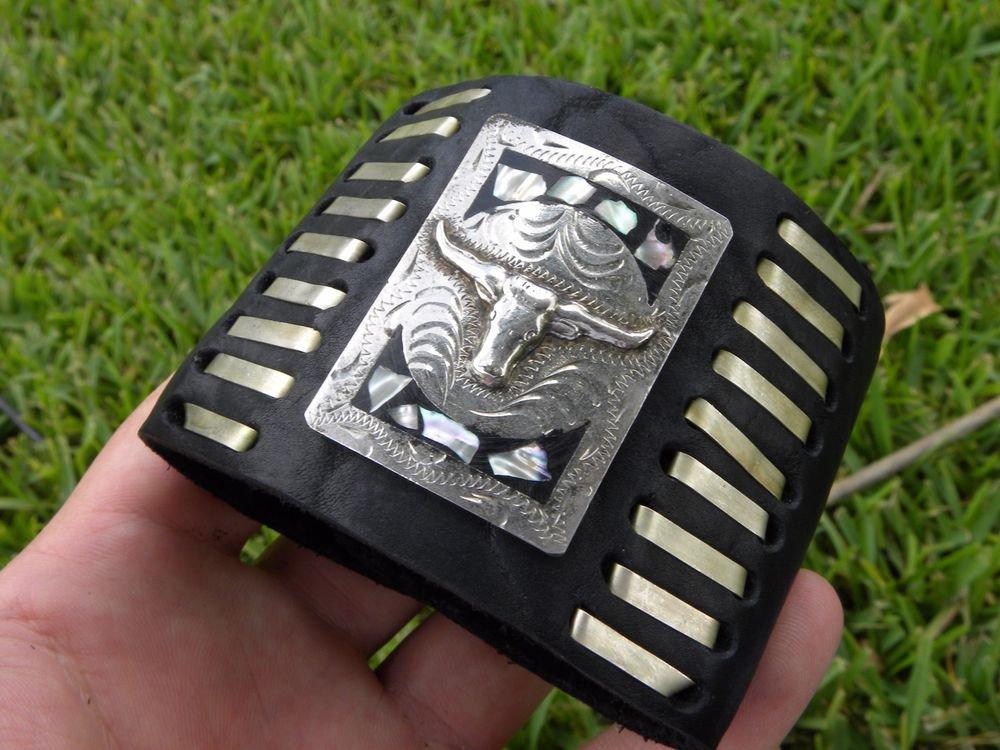 Buffalo leather cuff Customize to wrist  bracelet  Vintage signed MEXICO ALPACA