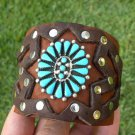 Authentic Native  Bracelet  Buffalo leather silver  turquoise signed B Yazzie