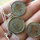 Vintage 5 Centavos Aztec calendar coin Mexican necklace or/and  earring handmade