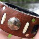 Handmade Cuff Men signed  Bracelets  Buffalo Leather Ottoman Empire coin