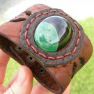 Handmade Adjustable cuff agate stone Bracelet Buffalo Leather customize cuff