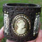 Vintage pendant  Bone  Buffalo leather  Bracelet  Designer Signed wristband