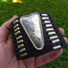 Genuine Buffalo leather cuff ketoh  bracelet  Vintage  signed MEXICO ALPACA