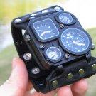 Compass thermometer watch handmade cuff bracelet genuine black Buffalo Leather