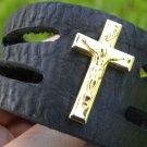 Vintage Cross religious Pendant Handmade cuff  Bracelet Buffalo Leather