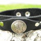 Handmade cuff  Bracelet  Buffalo Leather real Mercury dimes coin Indian Style