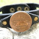 Wristband Real Aztec Pyramid Coin Customize your wrist Bracelet Buffalo leather