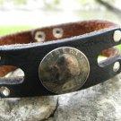 Handmade Bracelet Genuine Buffalo Leather USA  1967 Liberty 25 cents wristband