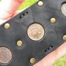 Handmade  Buffalo leather cuff authentic  bracelet Vintage Indian Head  coins