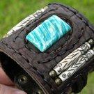Hanmade  Bone  Buffalo leather orignal stone  Bracelet Vintage Designer Signed