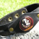 Handmade cuff  wristband Buffalo Leather Florida State Seminoles Indian logo sig