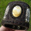 Handmade  Bone  Buffalo leather Jasperl stone  Bracelet Vintage Designer Signed