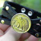 Vintage Silver Walking Liberty coin Handmade cuff Bracelet Buffalo Leather