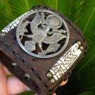 Vintage American Seal Eagle w/Olive Branch & Arrows Pin Brooch leather bracelet