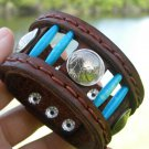 Customize genuine Buffalo Leather cuff wristband Vintage Indian coins Turquoise